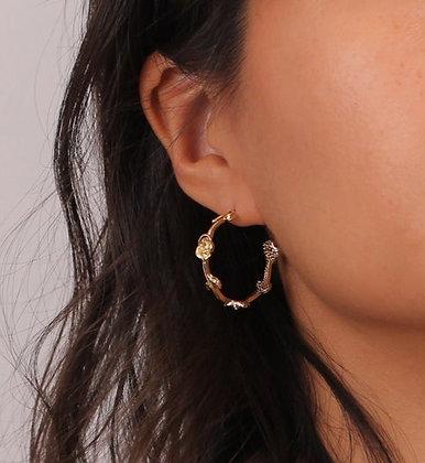 Gold Plated Rose Flower Earrings