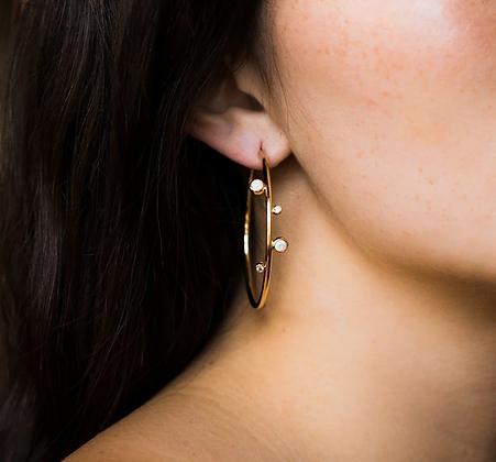 Gold Plated Fire Opal Hoop Earrings