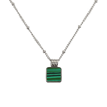 Silver Plated Malachite Necklace
