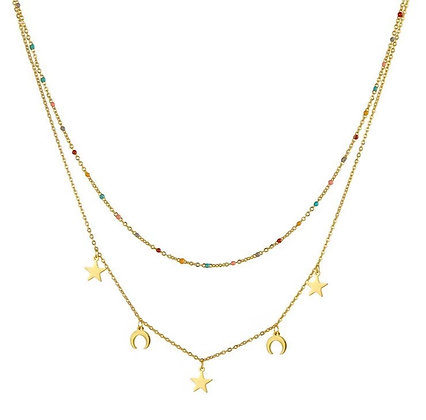 Gold Plated Beaded Horn Star Necklace