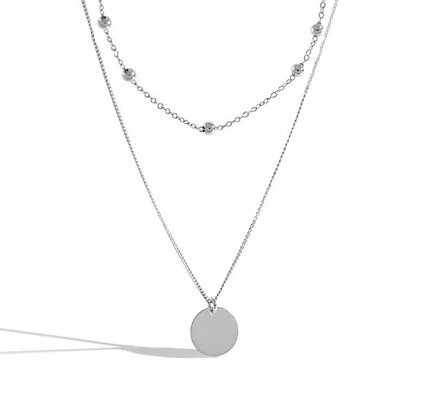 Silver Plated Beaded Coin Necklace