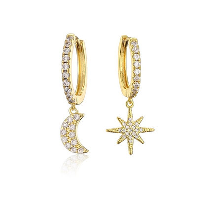 Gold Plated Moon Star Hoop Earrings