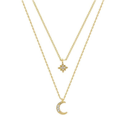 Gold Plated Star Moon Layered Necklace