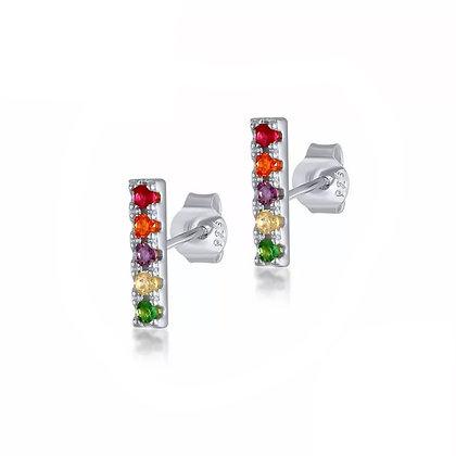 Sterling Silver Rainbow Stud Earrings