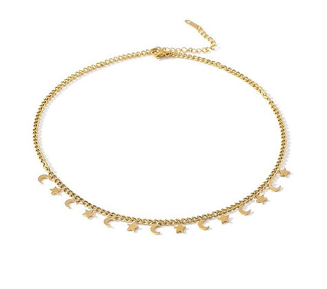 Gold Plated Moon Star Necklace