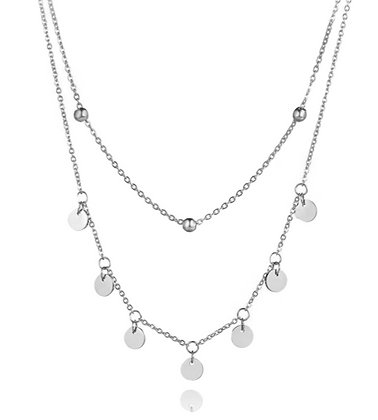 Silver Plated Layered Coin Necklace