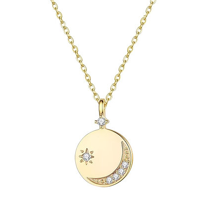 Gold Plated Moon Coin Necklace