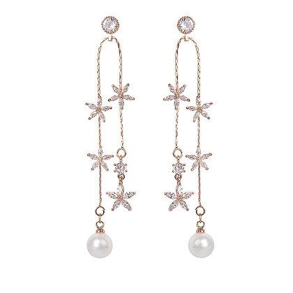 Rose Gold Plated Flower Pearl Drop Earrings