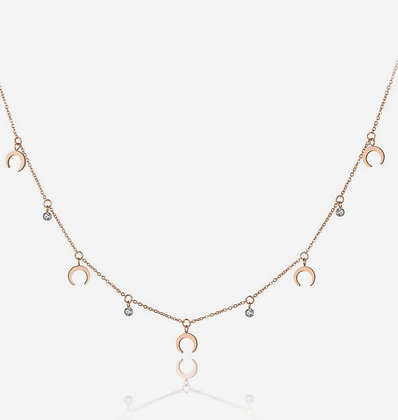 Rose Gold Plated Tiny Horn Necklace