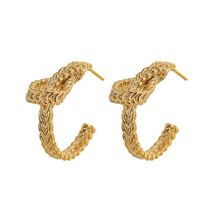 Gold Plated Knot Hoop Earrings