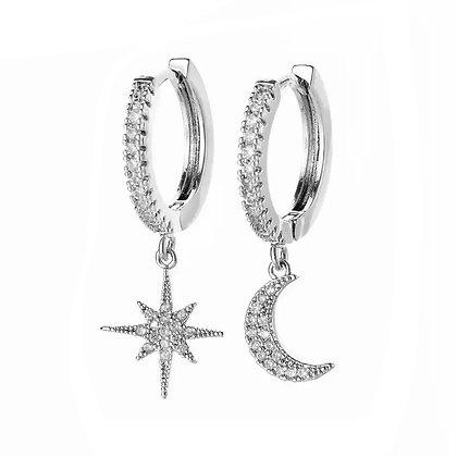 Silver Plated Moon Star Hoop Earrings