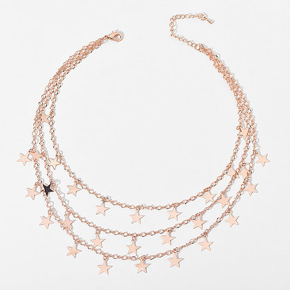 Rose Gold Plated Starry Chains Necklace