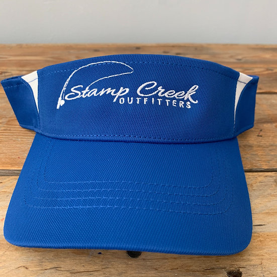 Royal-White Visor Stamp Creek Outfitters