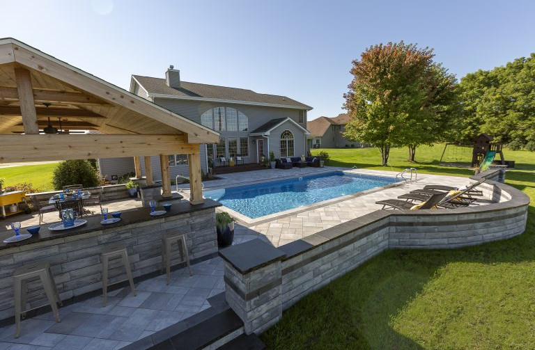 Gray Pavers with dark gray edges on The Lux Pool