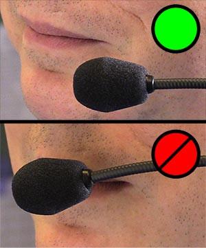 Headset Mikrofon Positionierung um Popp-Geräusche zu minimieren