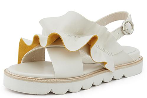 Ruffles Ivory Sandals