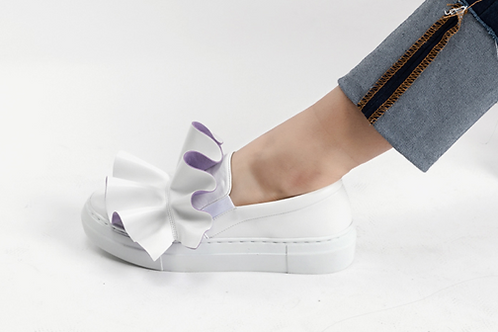 Ruffles White Slip-On