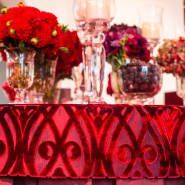 Burgundy Velvet Table Caps