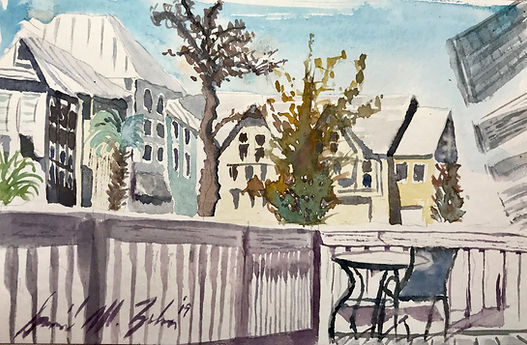 Lunchtime Watercolor - Sun Deck At Santa