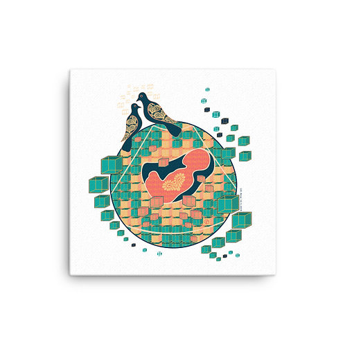 Canvas pregnancy art Doves abstract white