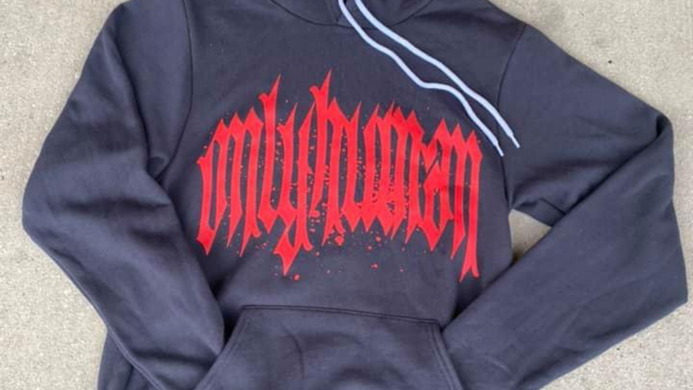 """""""Only Human """" Grey & Red Hoodie"""