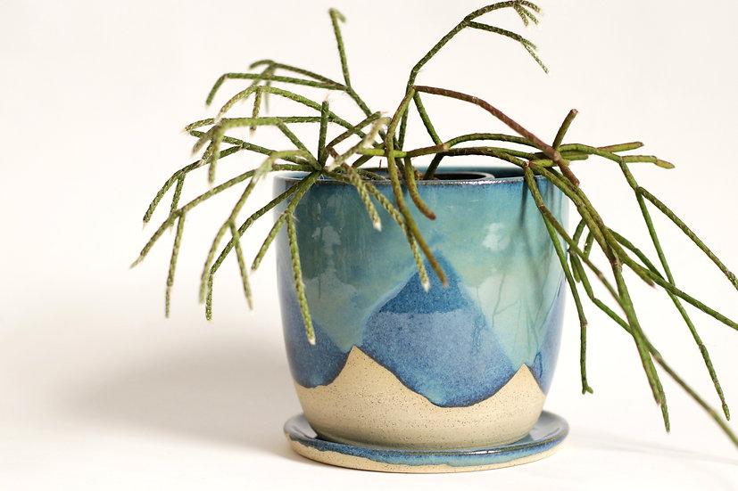 Deep blue glaze planter