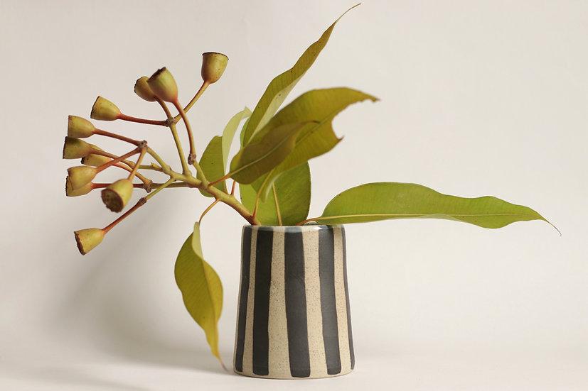 Black striped vase
