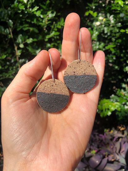 Speckled half black earrings