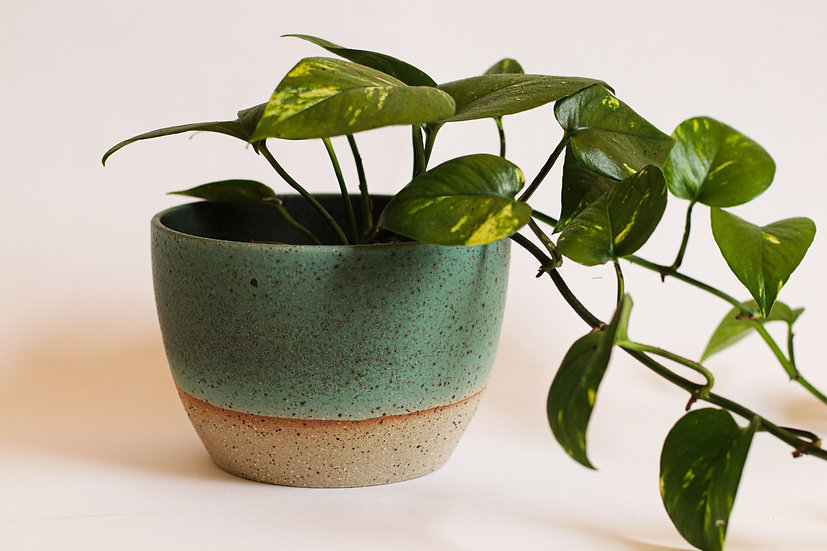 Aqua green glaze planter
