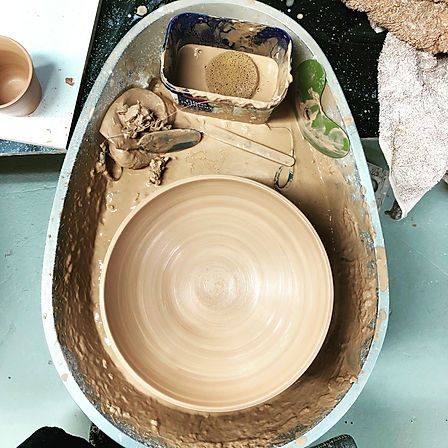 Pottery wheel andbowl made by Rhianna Blake - Blake Clay