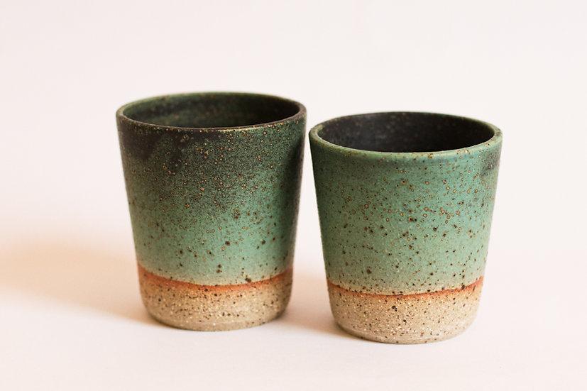 Green glaze tumblers