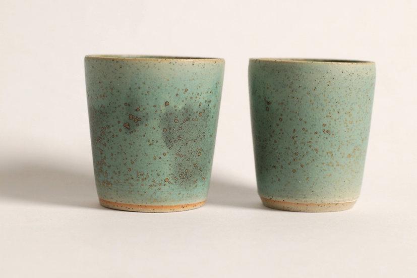 Green glaze piccolo tumblers