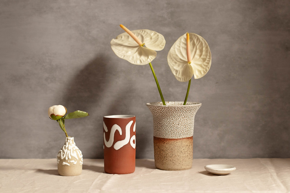 Three original glaze vases by Blake Clay