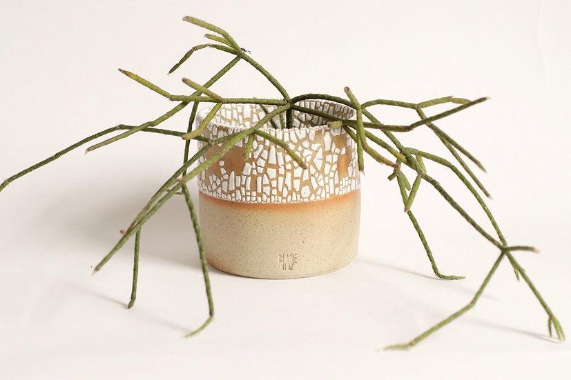 Crawl glaze planter - small