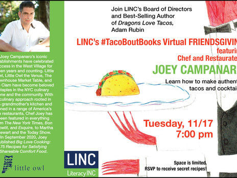 FIRE UP a love of READING and JOIN LINC'S #TacoBoutBooks Friendsgiving!