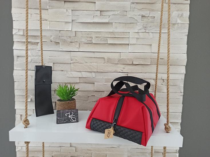 Lunch bag isotherme simili cuir rouge et noir