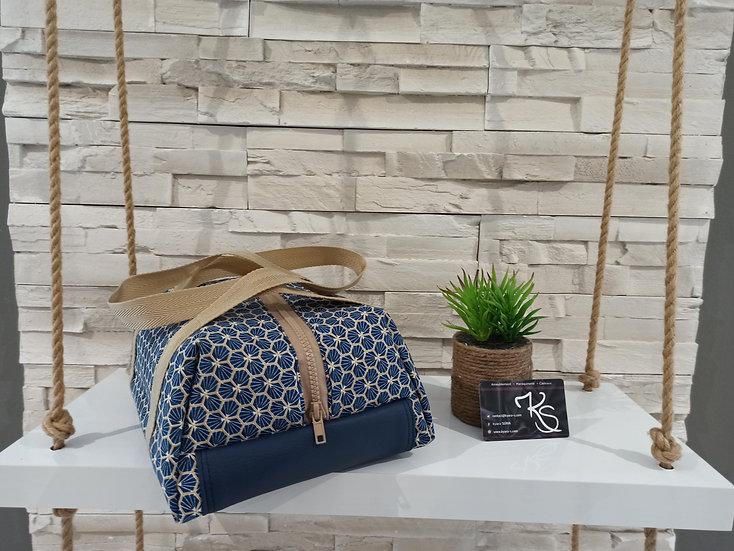 Lunch bag isotherme coton enduit bleu marine
