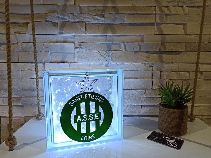 Lampe verre équipe de foot -  Saint-Etienne