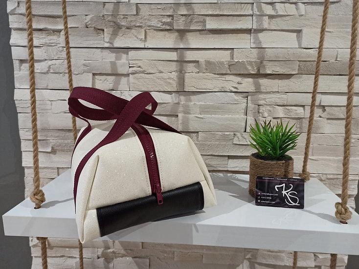 Lunch bag isotherme simili cuir blanc paillette noir et bordeaux
