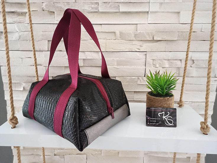 Lunch bag isotherme simili cuir noir bordeau et marron paillette