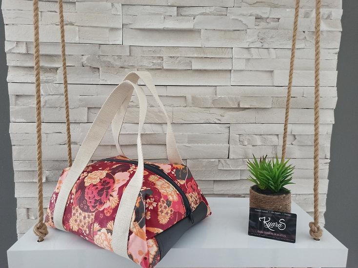 Lunch bag isotherme coton enduit rouge bordeau et noir