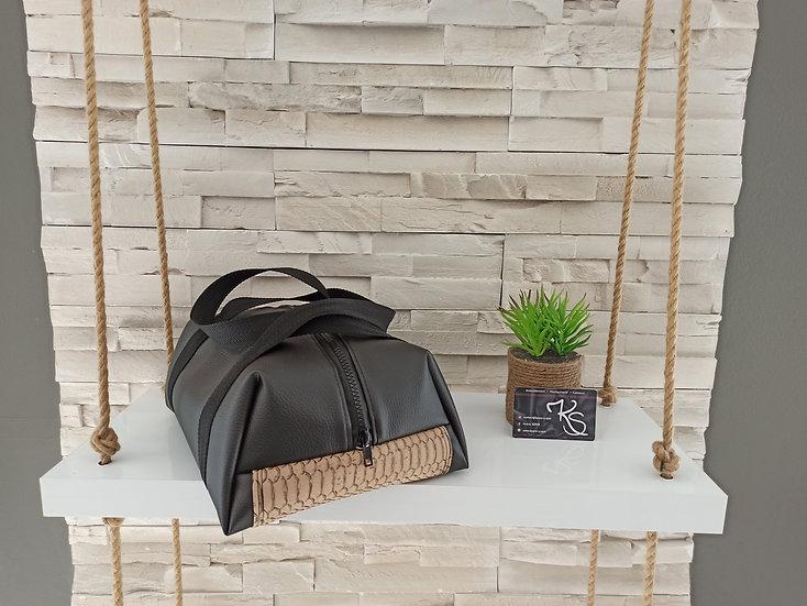 Lunch bag isotherme simili cuir noir et cromodo beige