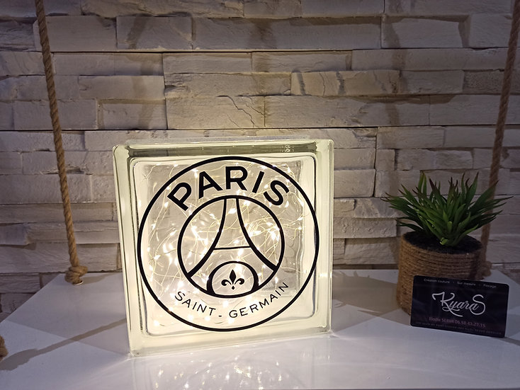 Lampe verre équipe de foot -  PSG - Paris Saint-Germain