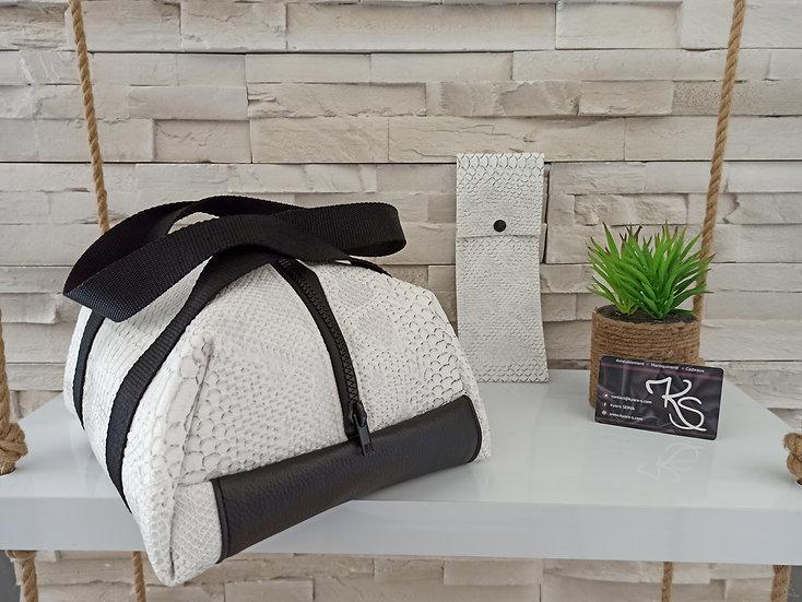 Lunch bag isotherme simili cuir blanc comodo et noir