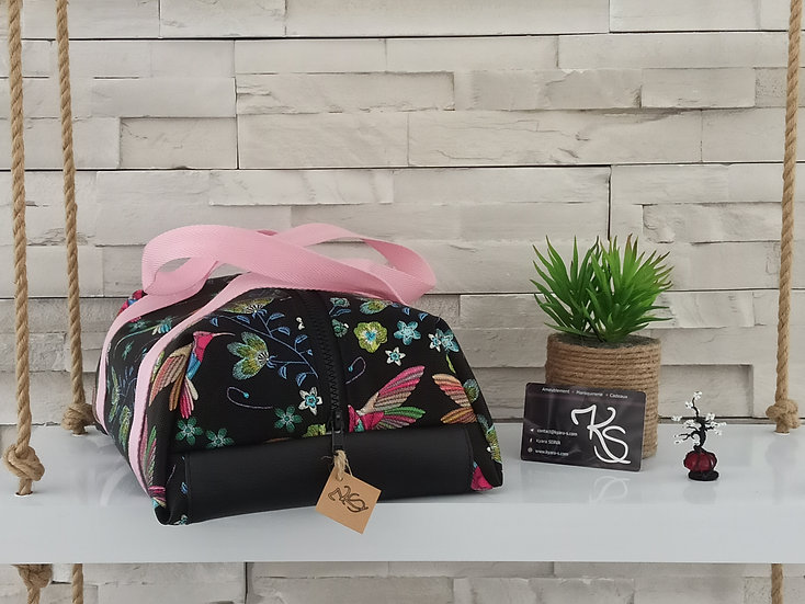 Lunch bag isotherme simili cuir colibris noir et rose