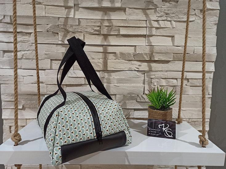 Lunch bag isotherme coton enduit vert d'eau blanc noir