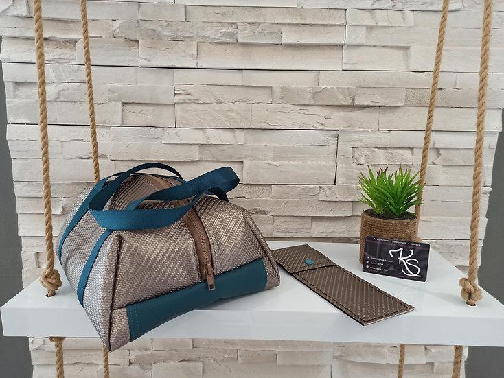 Lunch bag isotherme simili cuir marron irisé et bleu canard