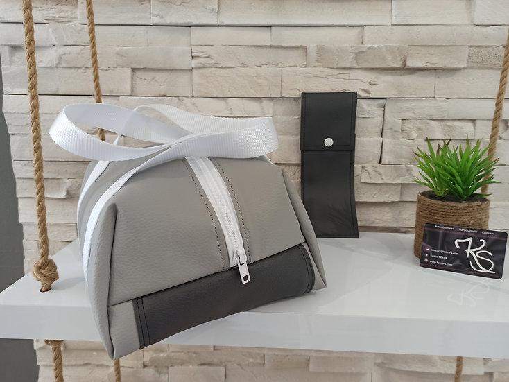 Lunch bag isotherme simili cuir gris clair gris foncé et blanc