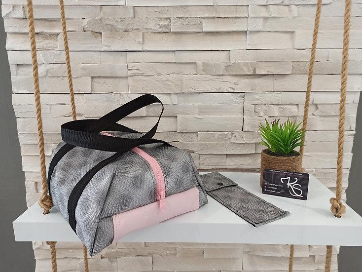 Lunch bag isotherme simili cuir gris et rose