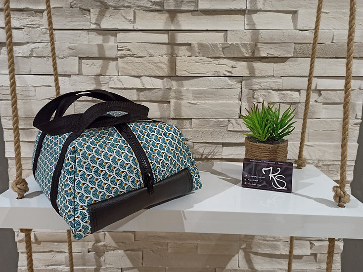 Lunch bag isotherme coton enduit bleu turquoise blanc noir